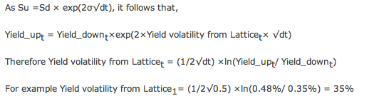 Building BDT model in EXCEL - Define Calculation Cells: Calculate Yields & Yield volatility from Lattice