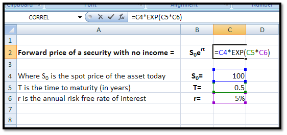 Computational Finance: Basics: Calculating forward prices in Excel - Part I