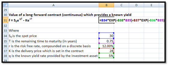 How to calculate the value of a forward contract in EXCEL