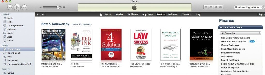 Value at Risk and ALM iBooks Featured on the iBook store