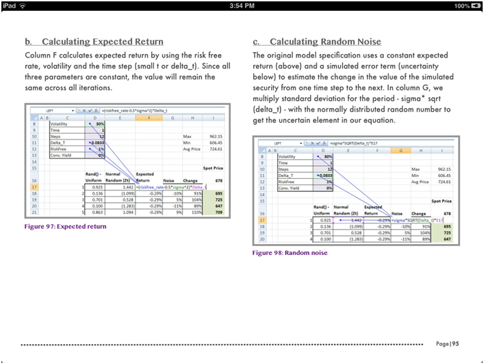 iPad iBook teaches how to build financial simulators in Excel