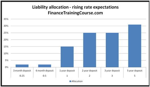 Liability Allocation Strategy for rising Interest Rates - ALM Analysis and Strategy