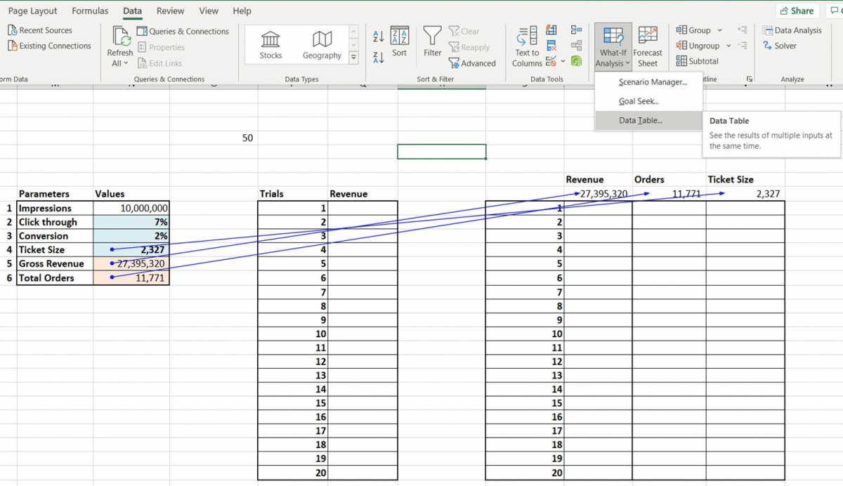 Using Data Tables in Excel