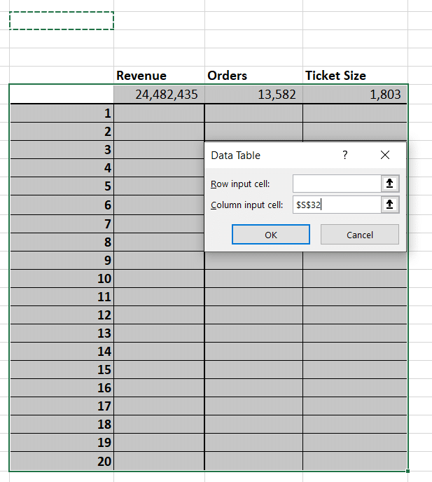 Choose a blank input cell