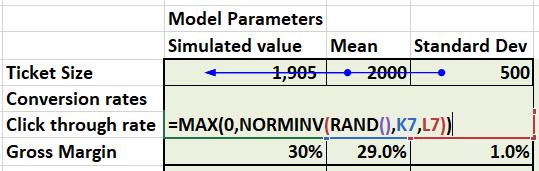Simulating values using NORMINV and RAND