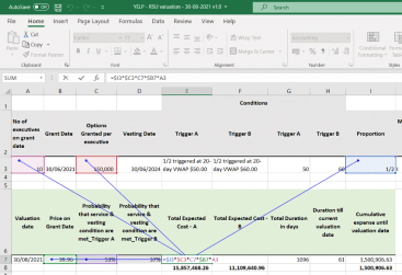 Modelling RSU expense in EXCEL